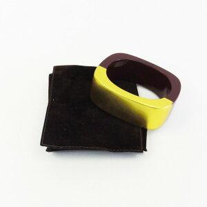 208856【】【HERMES】【エルメス】バングルプラスチックブラウン(茶)×ゴールドhermesブレスレット腕輪アクセサリーファッション小物