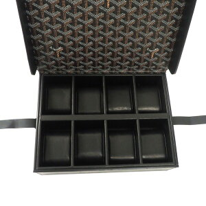 212288【中古】【GOYARD】【ゴヤール】ウォッチケース8本用コーティングキャンバス×カーフゴヤールディンシルバー金具黒goyard時計ケース時計BOX時計収納