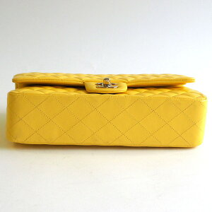 186240【送料無料】【中古】【CHANEL】【シャネル】Wフラップチェーンショルダーバッグ25cmマトラッセラムスキンイエローゴールド金具ココマークCCハンドバッグ