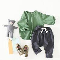 ジョイラッパT袖がゴムブラックグリーンベージュ男の子女の子韓国子供服90cm100cm110cm120cm130cm