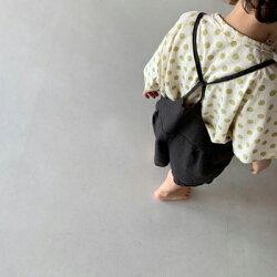 ポニーオーバーオールサロペット男の子女の子男女兼用キッズ韓国子供服チャコールベージュポケット無し80cm90cm100cm110cm120cm
