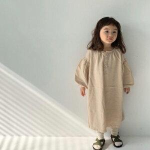くすみオーバーワンピースラエル 薄ベージュ 薄グレー 韓国子供服 女の子 ルーズ ゆったり キッズ こども シンプル ベーシック 90cm 100cm 110cm 120cm 130cm コットン リネン 裏地なしポケット無し