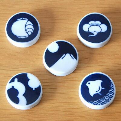 KIHARA キハラ KOMON 小紋 箸置き 5個セット[梅鶴(春) 小槌 波千鳥 富士(正月) ひょうたん]