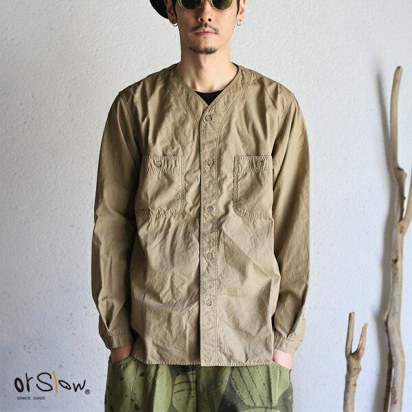 トップス, カジュアルシャツ orslow NO COLLAR SHIRTS KHAKI