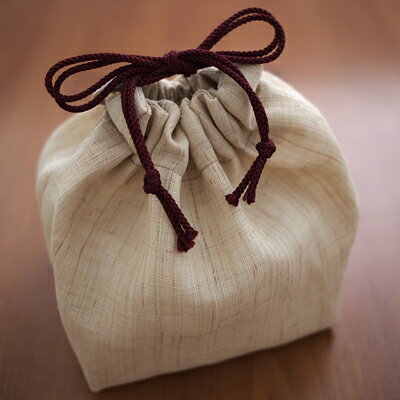 麻製巾着袋(ウコン布付き) 菖蒲の隠者 巾着袋 麻製 ウコン布 持ち出し急須 旅持ち急須 茶器を入れる袋 茶道 野点 煎茶 ギフト用の袋 引き出物 内祝 ギフト