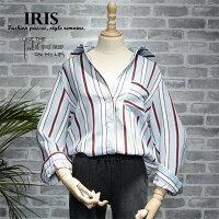 送料無料【IRIS】レディースシャツブラウス縞模様ストライプ長袖日常用お出かけカジュアルゆったり学生夏レディース夏物フリーサイズ