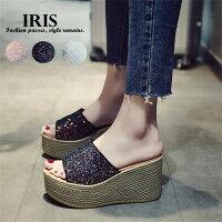 【IRIS】サンダル夏靴レディースシューズウエッジソールキラキラカジュアル厚底日常用お出かけデート女の子サンダルスリッパ