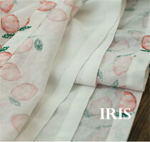 【IRIS】ナチュラル桃柄ピーチ柄ワンピースフレア膝丈レディース花柄ワンピレトロひざ丈Aライン森ガールカジュアルお出かけ