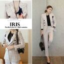 【IRIS】コート パンツ 上下セットレディース チェック柄 スーツコ...