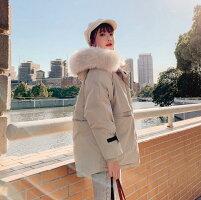 【IRIS】中綿コートレディース防寒コート冬服綿入りミディアム丈ファー付きフード付きカジュアル2色