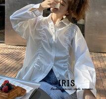 送料無料【IRIS】2色シャツブラウスレディーストップス無地長袖体型カバーゆったりカジュアル通勤着回し春夏秋20代30代40代50代60代森ガール大人可愛いブラックホワイト
