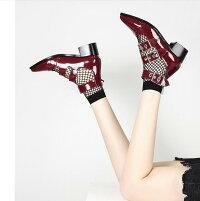 【IRIS】ハイヒールパンプスラウンドトゥ結婚式靴ウエディングシューズ無地レディースパーティー日常お呼ばれキレイめストラップパンプス痛くない黒赤歩きやすいエナメル調