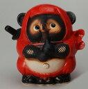 忍者狸(赤) 信楽焼 たぬき 陶器 狸 置物 タヌキ 彩り屋