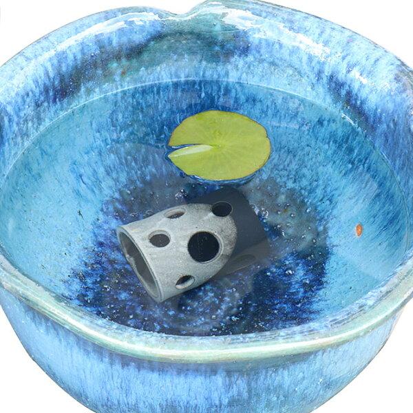 睡蓮鉢メダカ鉢めだかハウス横型白黒信楽焼めだか鉢水鉢金魚鉢陶器メダカ水槽アクアリウム彩り屋
