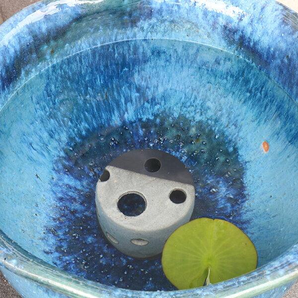 睡蓮鉢メダカ鉢めだかハウス白黒信楽焼めだか鉢水鉢金魚鉢陶器メダカ水槽アクアリウム彩り屋