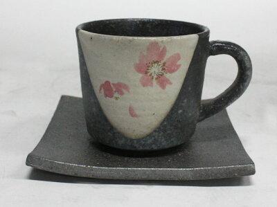 信楽焼 コーヒーカップ・ソーサー 桃桜コーヒー碗皿
