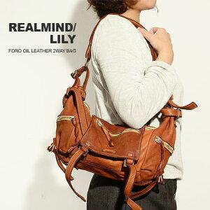 リアルマインド(REALMIND/LILY)フォロオイルレザー2wayバッグキャメル