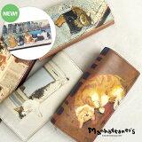 【1年保証】 マンハッタナーズ 財布 トップパース かぶせ 長財布 レディース 大容量 かわいい 猫 ネコ manhattaner's 075-1015