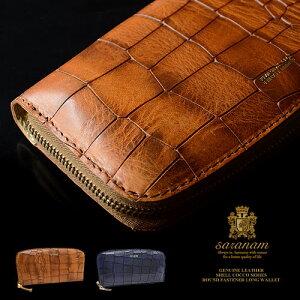 サラナン[saranam]シェルコッコクロコ型押しラウンドファスナー長財布FG991286