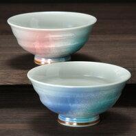 夫婦茶碗極上銀彩九谷焼和食器【組飯碗】
