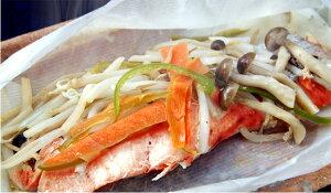 鮭と野菜やきのこと一緒に食す。レンジでお手軽包み焼き。レンジで簡単♪鮭のバターぽん酢包み...