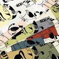 生地50cm単位綿麻キャンバス動物柄猫AP11702-1布コスモテキスタイルねこK-YUT