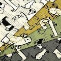 生地50cm単位綿麻キャンバス犬と英字AP11702-2布コスモテキスタイル動物柄イヌいぬK-YUT