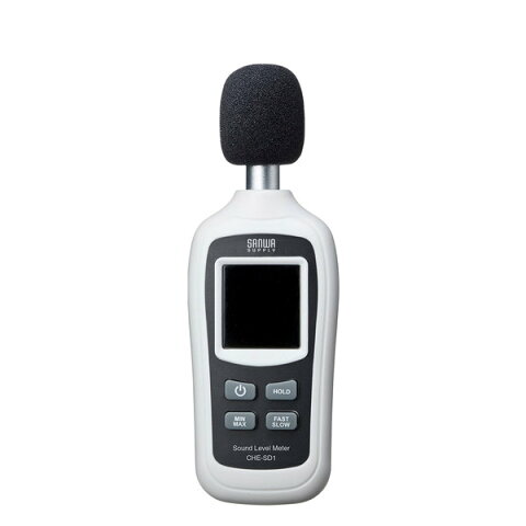 SANWA SUPPLY(サンワサプライ) デジタル騒音計 CHE-SD1簡単操作 デジタル表示 騒音測定器 事務所 図書館 体育館 道路 グラウンド 屋内 屋外 測定値 固定表示 ホールド機能 バックライト機能 風音防止 マイクカバー 気温 オートパワーオフ