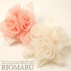 【日本製】ブライトオーガンジー3つ花コサージュ[ot]■メール便不可■