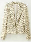 【9〜11号】綿混リッチラメツイード変形カラー長袖ジャケット[jk]【レディース】■メール便不可■