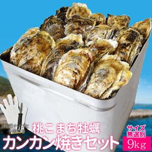 牡蠣 カンカン焼きセット 桃こまち サイズ無選別9kg(100個前後入) 一斗缶入り 送料無料 加熱用(牡蛎ナイフ・片手用軍手付き)三重県鳥羽の離島の希少 殻付き牡蠣 海鮮バーベキ