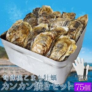 牡蠣カンカン焼きセット75個入 冷凍牡蠣 送料無料 旬凍桃こまち 鳥羽産 1斗缶入り(牡蠣ナイフ・片手用軍手付き)殻付き牡蠣 海鮮バーベキューセット 父の日 ギフト