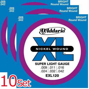 ギター用アクセサリー・パーツ, エレキギター弦 DAddario EXL120-10P Super Light 09-42 (10 Sets Pack)