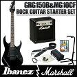 Ibanez / GIO Ibanez GRG150B BKN + MG10CF 【Ibanez × Marshall ロックギタースタートセット!】【10Wアンプ付きセット】(Black Night)【送料無料】《フレットガード装着後お届け:811127500》《予約注文/5月以降入荷予定》