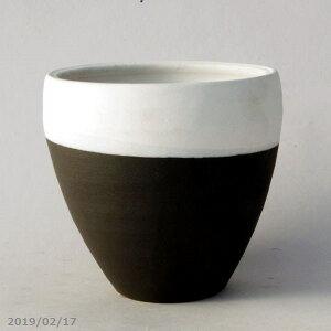 Shigaraki Topf Blumentopf Turbo Topf (M) schwarz und weiß Nr. 5 (Außendurchmesser 15 cm Höhe 15 cm) [Yamano Gras Topf Sukkulenten Topf Kaktus Topf Bonsai Topf]