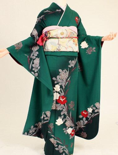 【レンタル】【振袖レンタル】k2064緑地斜め薔薇(成人式 結婚式 結納 お呼ばれ 振袖フルセット)