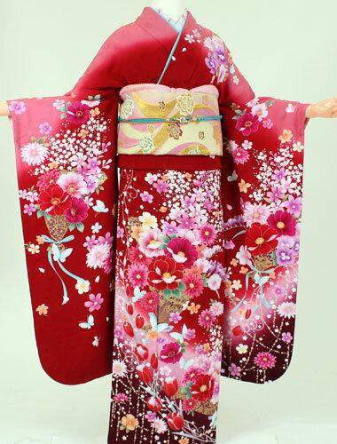 【レンタル】【振袖 レンタル】K8166アンアン赤ピンクぼかしリボン(成人式 結婚式 結納 お呼ばれ 振袖フルセット)