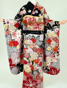 【振袖 レンタル】K8173マーベラス古典赤肩黒(成人式 結婚式 結納...