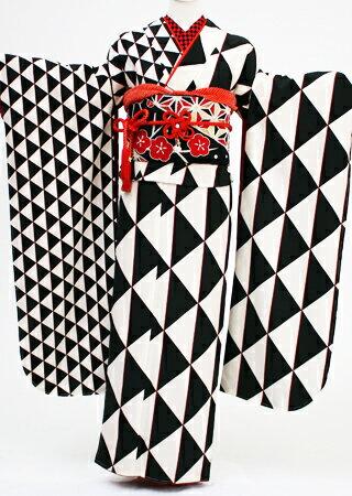 【レンタル】【成人式 振袖レンタル】K4338 白黒幾何学模様  レトロ 古典 (成人式 振袖 レンタル 振袖 成人式 結婚式 結納 お呼ばれ 振袖フルセット)