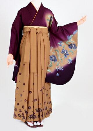【レンタル】【着物・袴 セット レンタル】S012/H006紫ベージュ暈し/ベージュ紫小花(卒業式 女)