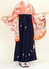 【着物・袴セット】S128/H038サンゴ色新古典/紺桜刺繍紐花