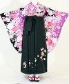 【着物・袴セット】SC321/HC321黒地紫バラ花/深緑桜流れ