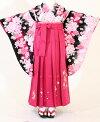 【着物・袴セット】SC326/HC326黒ピンク花盛り/濃ピンク