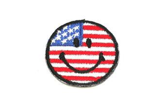 Ironing adhesive type ☆ ☆! Embroidered emblem USA smile ☆☆