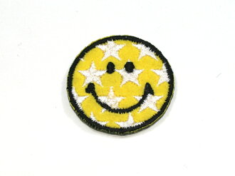 Ironing adhesive type ☆ ☆! Embroidered patch star-smile (small) ♪ our popular No.1!