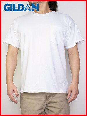 ギルダンGILDANポケットTシャツメンズ白S〜XLサイズ#2300UltraCotton6.0ozShortSleevePocketT-Shirt
