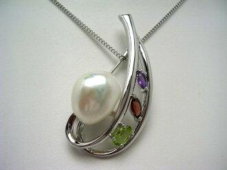 淡水珍珠胸針 13.6 x 11.7 毫米白色白色粉色天然石銀 62648 isovaperl ~