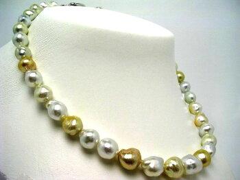 【送料無料】イソワパールナチュラルカラー白蝶真珠ネックレス9.0-11.5mmマルチカラーバロックシルバー56040【対応_関東】~【四国】