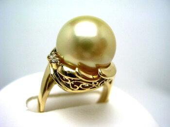 【送料無料】★【GoldLip花珠】白蝶真珠リング11.6mmゴールド(ナチュラル)K18イエローゴールドダイヤ0.06ct59906イソワパール