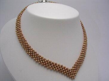 淡水真珠 5連 ネックレス 3.5-4mm マルチカラー 真鍮 クラスップ 35834 イソワパール